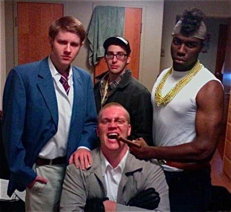 Jackson in college with his costumed friends all members of the TV show the A-Team