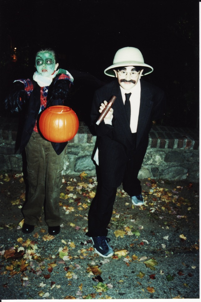 Jackson as Groucho and Quinn as Frankenstein